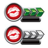 Kissing lips on green and silver arrow nameplates Royalty Free Stock Photography