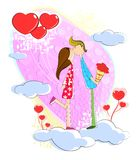 Kissing Love couple. Love couple kissing each other on cloud Royalty Free Stock Photo