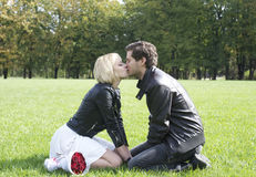 Kissing love couple in the park Stock Photography