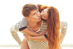 Kissing lovely couple Royalty Free Stock Image