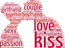 Kissing lovers tag cloud illustration Stock Images