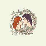 Kissing lovers. Vector colorful illustration of two kissing lovers Stock Photography