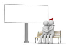 Kissing man and woman on a bench with copyspace Royalty Free Stock Photography