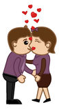 Kissing Man and Woman - Cartoon Characters Stock Image