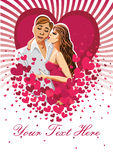 Kissing man and woman on hearts background.Design  Stock Image