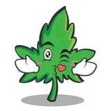 Kissing marijuana character cartoon Royalty Free Stock Photo