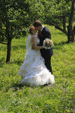 Kissing married couple Stock Photos