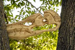 Kissing Wood sculpture Stock Photo