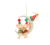 Kissing mice and half moon. Christmas decoration Stock Photos