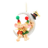 Kissing mice and half moon. Christmas decoration Royalty Free Stock Photos