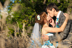 Kissing moment in the herbs Royalty Free Stock Photos