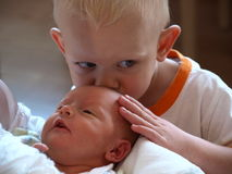 Kissing my sister Royalty Free Stock Image