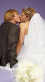 Kissing newlyweds Stock Photography