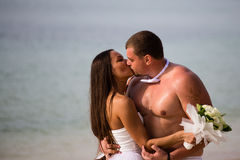 Kissing newlyweds at the beach Royalty Free Stock Images
