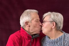 Kissing older couple Royalty Free Stock Photos