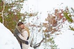 Kissing outdoors Stock Photos