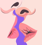 Kissing with passion and tenderness vector, ,Valentine card Royalty Free Stock Photography