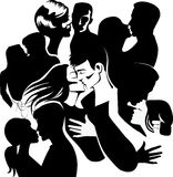 Kissing people, embrace men and girl, lover pair, love couple man and woman stock illustration
