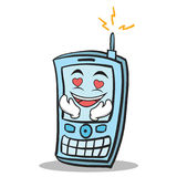 Kissing phone character cartoon style Stock Photography