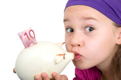 Kissing piggy bank Royalty Free Stock Photos