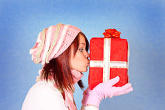 Kissing the present Stock Image