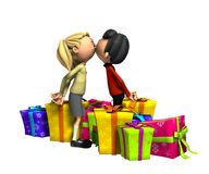 Kissing With Presents. Couple kissing over some gifts for either Birthday or Christmas Presents Stock Photos