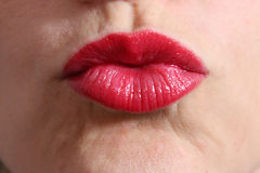 Kissing red lips Stock Photography