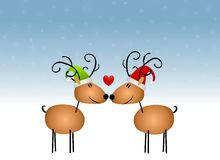 Kissing Reindeer Cartoon Stock Image