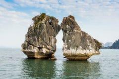 The Kissing Rocks in Halong Bay, North Vietnam Stock Photos