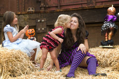Kissing Sisters, Playful Halloween Stock Photos