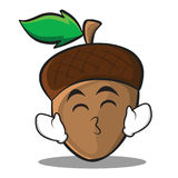 Kissing smile eyes acorn cartoon character style Royalty Free Stock Images