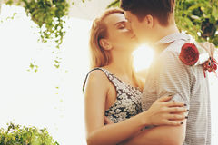 Kissing in sunset Royalty Free Stock Photography