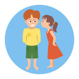 Kissing toddlers vector cartoon Stock Images