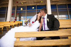 Kissing on tribunes Stock Image
