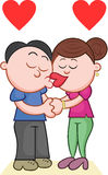 Kissing With Two Hearts. Royalty Free Stock Photography