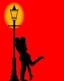 Kissing Under the Lamppost Stock Photos