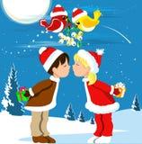 Kissing Under the Mistletoe stock illustration