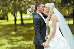Kissing wedding couple Royalty Free Stock Photography