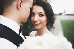 Kissing wedding couple in spring nature close-up portrait Stock Image