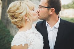 Kissing wedding couple in spring nature close-up portrait Royalty Free Stock Photo