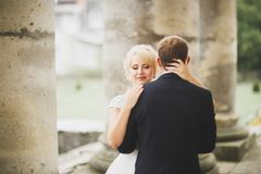 Kissing wedding couple in spring nature close-up portrait Royalty Free Stock Image