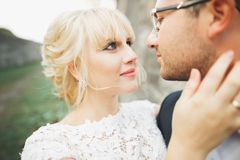 Kissing wedding couple in spring nature close-up portrait Royalty Free Stock Images