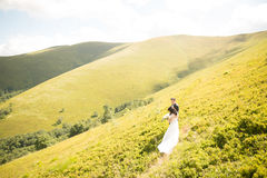 Kissing wedding couple staying over beautiful landscape Royalty Free Stock Photo