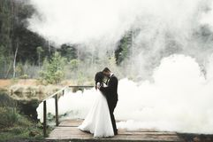 Kissing wedding couple staying over beautiful landscape Royalty Free Stock Photography