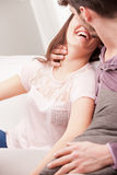 Almost kissing between woman and man Stock Photos