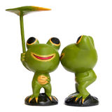 Kissing Wooden Frogs - Romantic valentine day Stock Photography