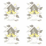 Kissing yellow birds wedding labels. Yellow birds kissing in front of wooden bird box on white background with beige gray leaves and dots romantic save the date Royalty Free Stock Image