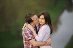 Kissing Young Couple Royalty Free Stock Photo