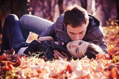 Kissing young couple in love Stock Photography