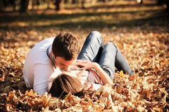 Kissing young couple in love Royalty Free Stock Images